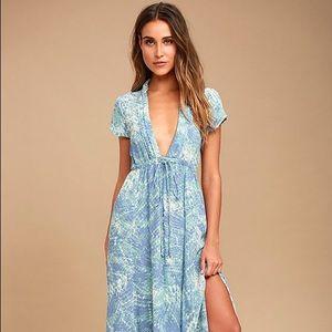 Lulu's S Mermaid's Tale Blue Print Maxi Dress